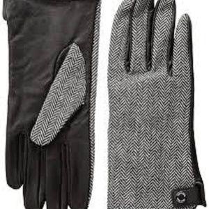 Calvin Klein Leather Palm Herringbone Gloves